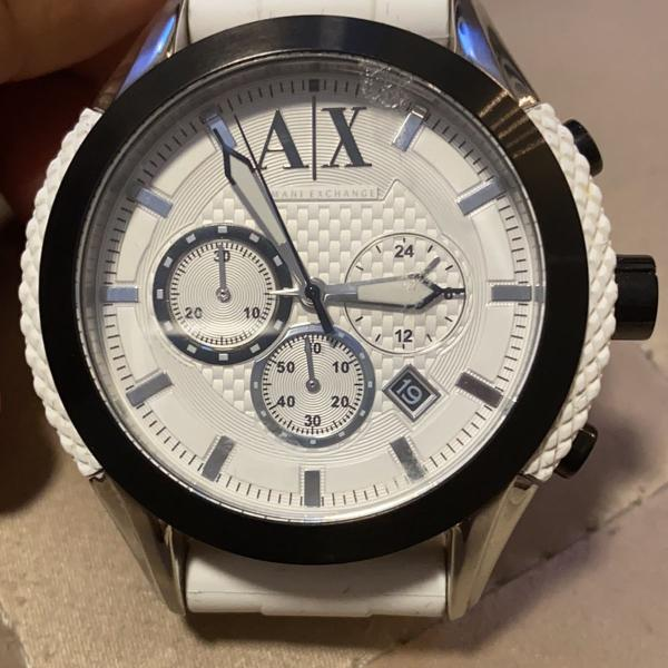 Relógio armani exchange ax1225 fundo branco / pulseira
