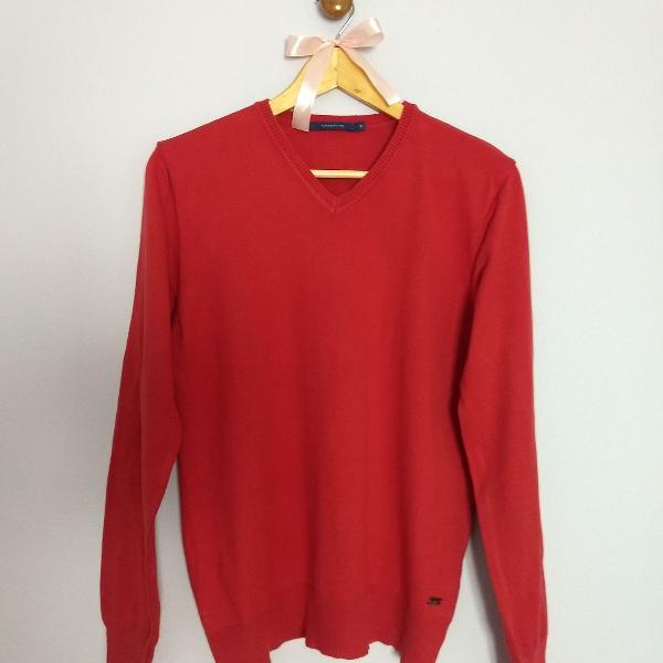 Suéter cardigan vermelho masculino manga longa