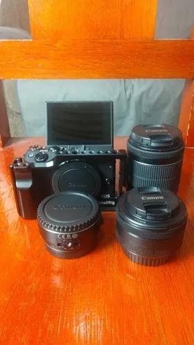Canon m3 + lentes 18-55mm e 50mm + adaptador lente ef-eos m