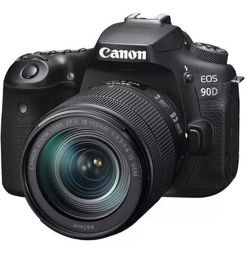 Cämera canon eos 90d dslr com lente 18-135mm