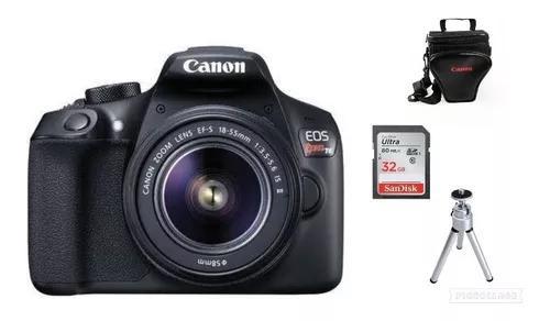 Câmera canon rebel t6 c/18-55mm lii 32gb+bolsa+tripé