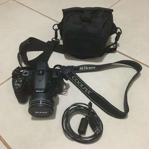 Câmera nikon coolpix p520 + cartão 32 gb + bolsa + cabo