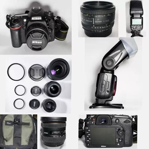 Câmera nikon d7100/3 objetivas/flash nikon sb-910/outros