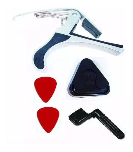 Kit acessórios violão encordoador capotraste porta palheta