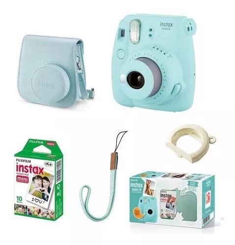 Kit câmera instax fujifilm mini 9 + 10 filmes + bolsa azul