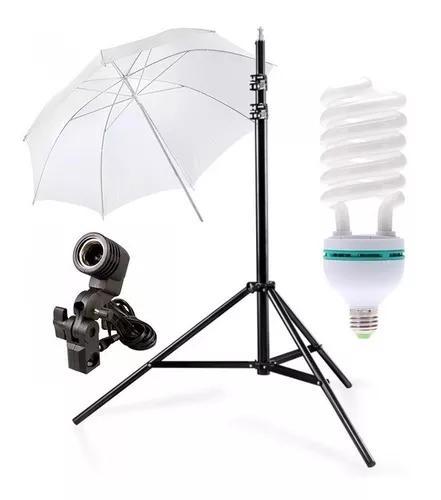 Kit estúdio sombrinha difusora c/ lampada 150w fotos/videos