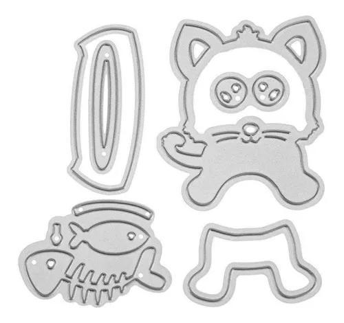 Matrizes de corte de metal 1 gato conjunto para scrapbook