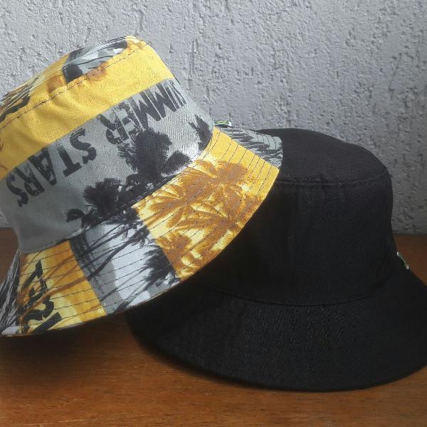 Summer stars dois chapéus balde bucket hat sem costuras na
