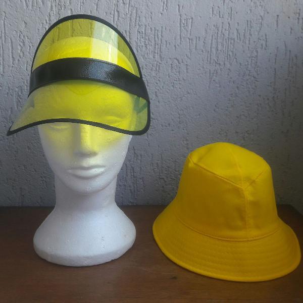 Verão em alto estilo viseira e bucket hat unissex amarelos