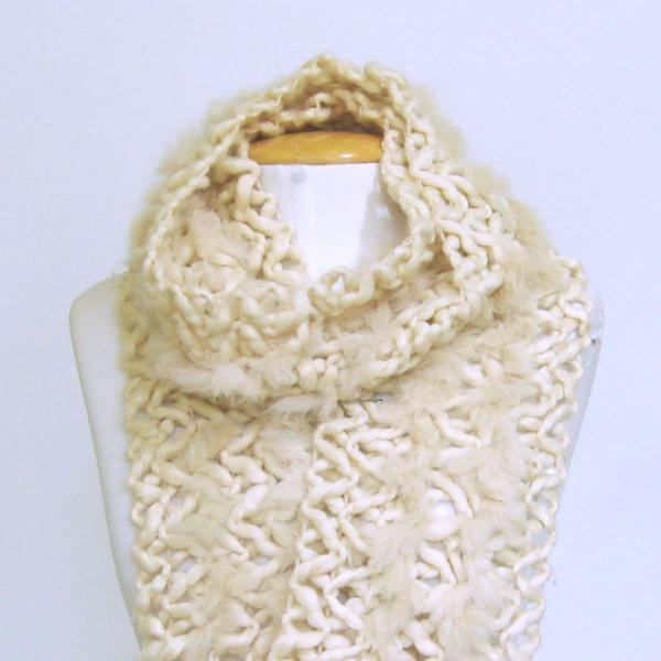 Cachecol lã bege