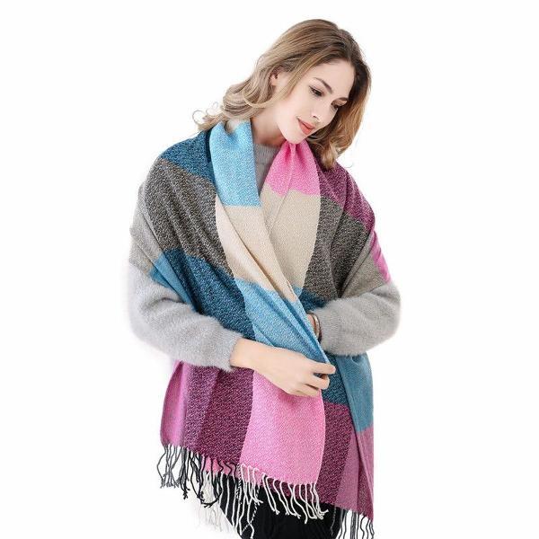 Cachecol lenço feminino xales echarpe xadrez macio inverno