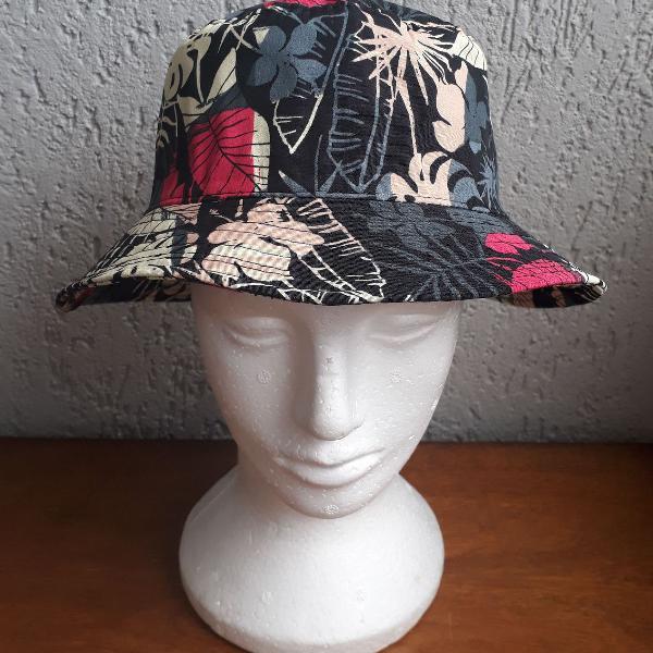 Chapéu bucket hat unissex floral pescador