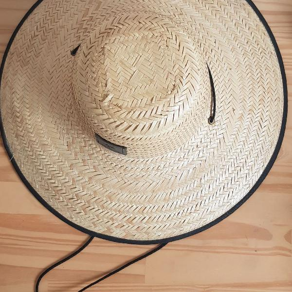 Chapéu de palha aba larga estampa placas