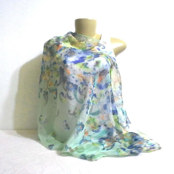 Lenço echarpe seda pura verde claro floral