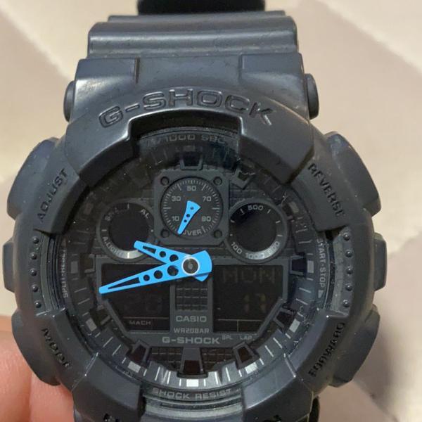 Relógio casio g-shock ga-100c cinza/ponteiro azul