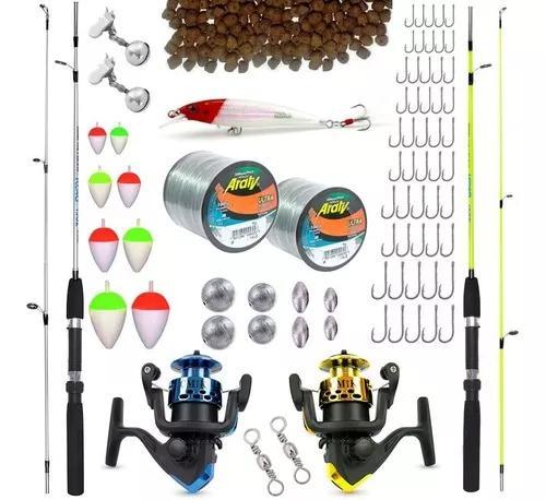 2 varas 2 molinetes + acessórios kit pesca promoção c/ nf