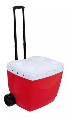 Caixa térmica 42 litros vermelha com rodinha mor