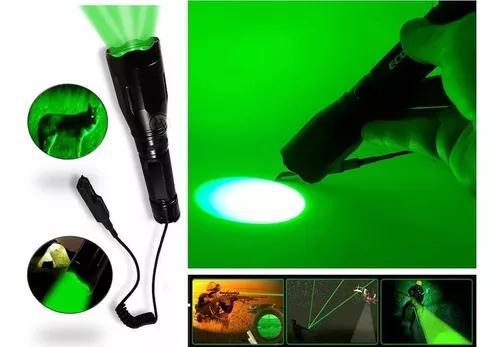 Lanterna led luz verde tática caça pesca 688000 w 193000 l