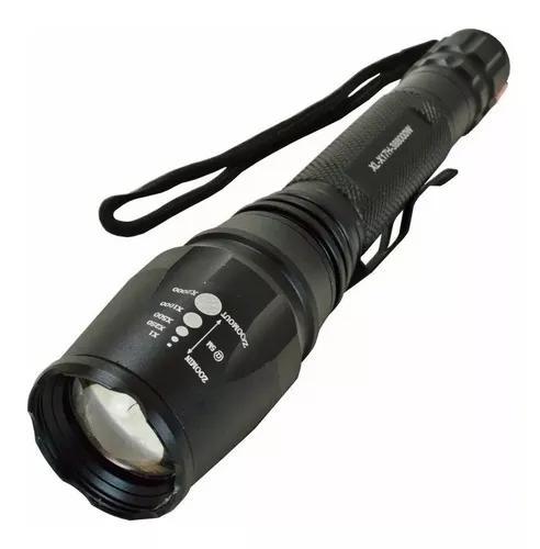 Lanterna tática led t6 police potente 2 bateria recarregáv