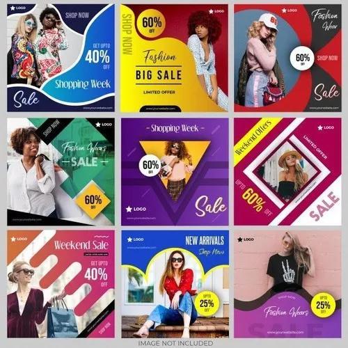 Pacotes de artes para redes sociais e flyers editáveis