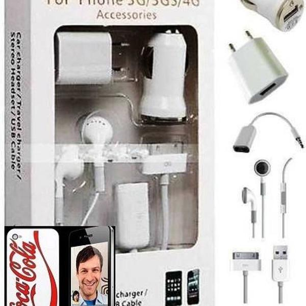 Kit 5x1 acessórios iphone 3/3g/4g/4/4s + capa coca-cola