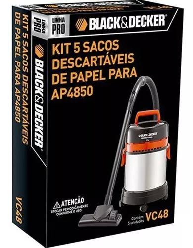 Saco descartável 5un para aspirador black&decker ap4850