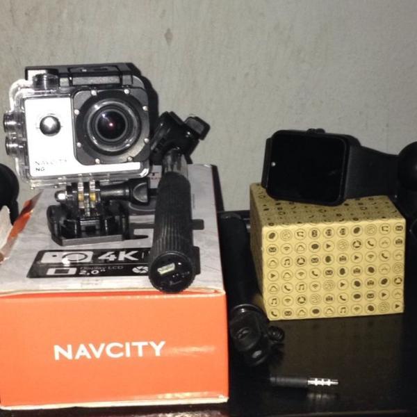 Camera action filmadora + relógio inteligente