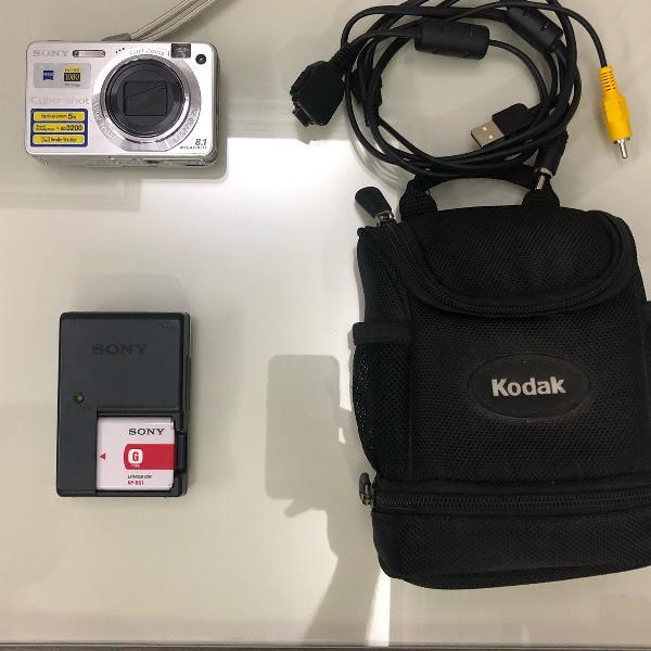 Câmera digital sony dsc-w150 8.1mp com bolsa e cartão de