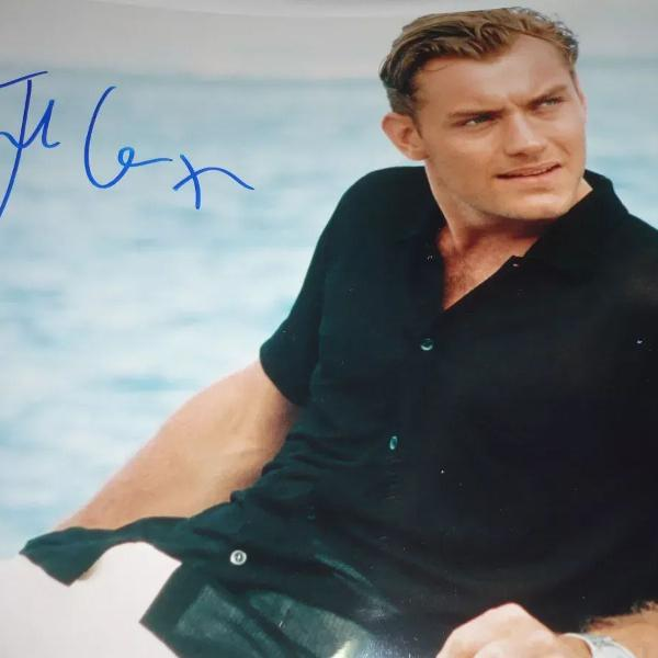 Foto autografada original jude law do filme o talentoso