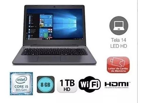 Notebook positivo master n2140, core i5 8th, 8gb, 1tb, novo!