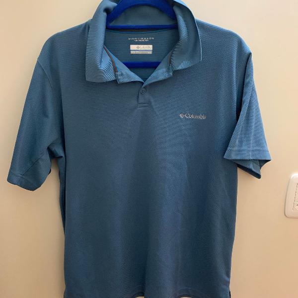 Camiseta polo columbia omni-shade masculina azul original