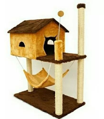Arranhador para gato casa com rede bola varias cores