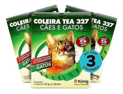 Coleiras contra pulgas e carrap. gatos 13g c/ 33cm c/3 unid.