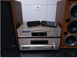 Som pioneer receiver 500w; md player/recorder; par de caixas