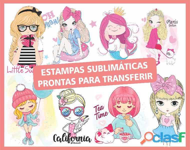 Kit com 20 estampas sublimáticas prontas para transferir