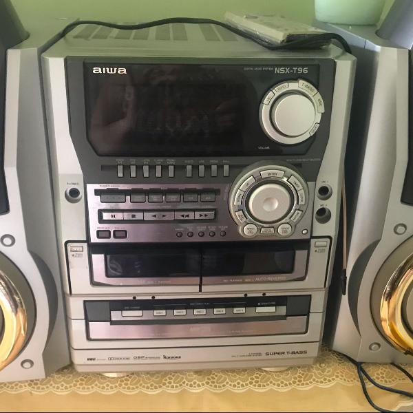 Som aiwa nax t96 com subwoofer 5 cds , rádio e k7 , tudo