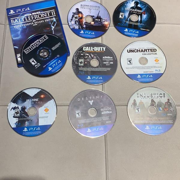 8 jogos ps4 originais battlefield 2 e 4, uncharted 4 e nd,