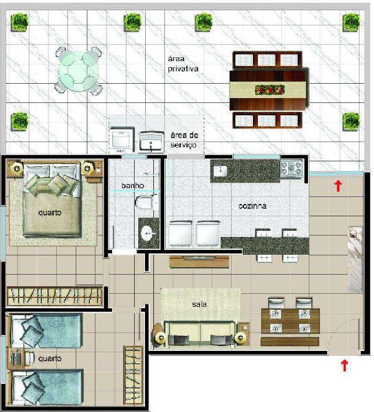 Apartamento, serrano, 2 quartos, 1 vaga, 0 suíte
