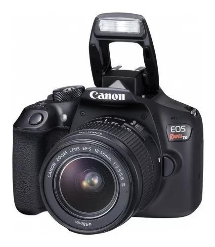 Canon eos rebel t6 lente ef-s 18-55 + cartão de m