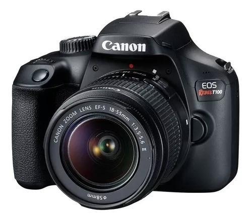 Câmera canon eos rebel t100 wifi + lente 18-55mm ef-s iii