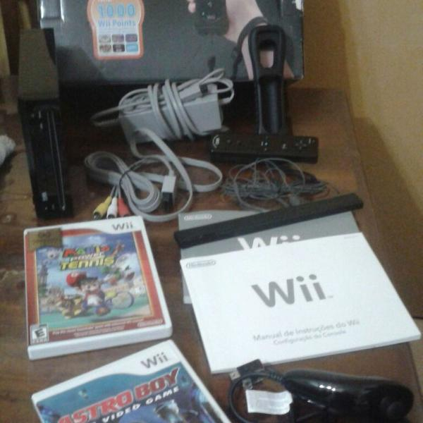 Nintendo wii - console + controle + jogos de brinde