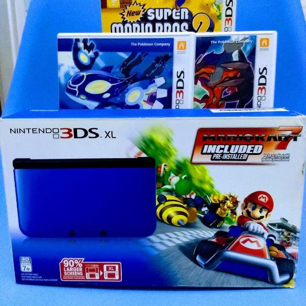 Nintendo 3 ds xl completo azul com 3 jogos originais
