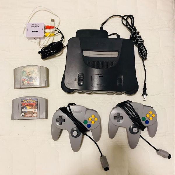 Nintendo 64 + 2 consoles + 2 jogos (mario kart e pokemon)