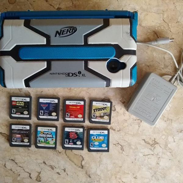 Nintendo ds xl azul + capa nerf original + alguns jogos(3)