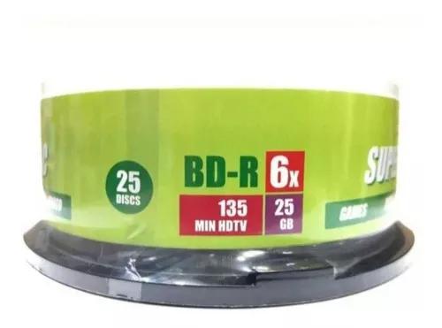 25 mídia bluray super disc printable 25 gb 6x