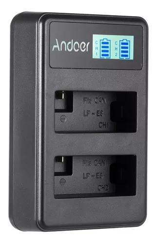 Andoer lp-e8 recarregável led display carregador de bateria
