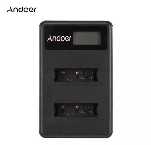 Andoer mini portátil dual slot lcd screen carregador usb
