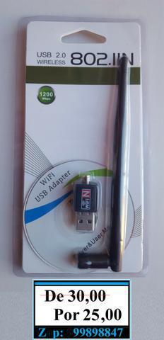 Antena wifi adaptador wireless usb 1200mbps pc e note (novo)