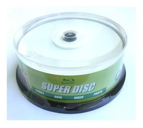 Blu ray bd-r 25gb super disc - printable c/50 unidades.