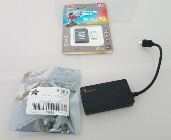 Kit raspberry pi zero com hub usb otg e cartão de memória